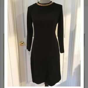 Calvin Klein knitted black dress with gold chain